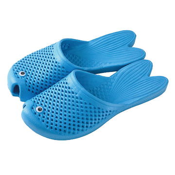 Fish Sandals - Light Blue - Soft EVA Slippers for Adults (size:women's 7~9)