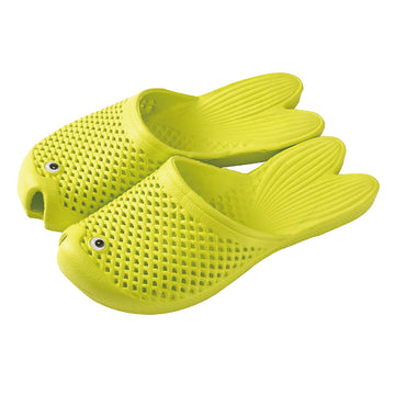 Fish Sandals - Yellow - Soft EVA Slippers for Adults (size:women's 7~9)