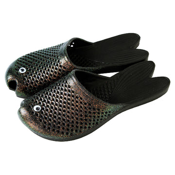 Fish Sandals - Glitter Black - Soft EVA Slippers for Adults (size:women's 7~9)