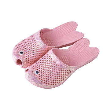 Fish Sandals - Glitter Pink - Soft EVA Slippers for Kids (size: 11 1/2 ~ 1)