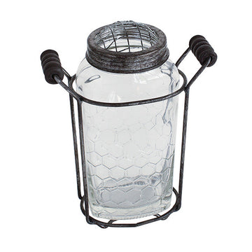 Rustic Glass Vase  with Mesh Top and Holder with  Handle