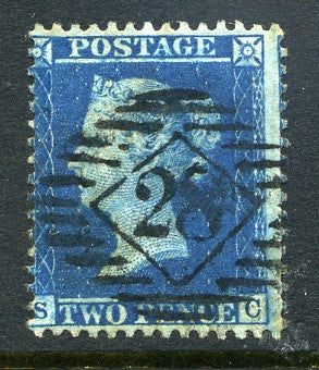 1857 2d Blue plate 6 large crown perf 14 lettered SC. A fine used example with No 28 numeral cancel.