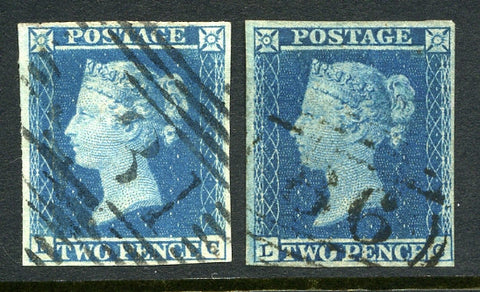 1841 2d Blues plate 3 and 4 lettered LC. A very fine used four margined matched pair with 1844 type cancels.