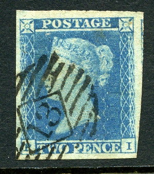 1841 2d Pale blue plate 4 lettered PI. A very fine used large margined example with light numeral cancel.