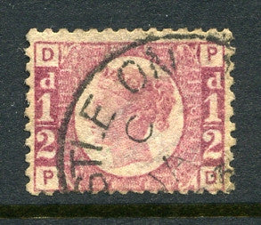 "1870 ½d Rose-red plate 6 lettered PD. A superb used example with part ""Newcastle On Tyne"" CDS."