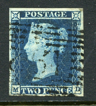 1841 2d Deep full blue plate 4 lettered MD. A fine used four margined example.