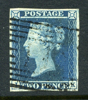1841 2d Deep full blue plate 4 lettered IK. A fine used four margined example.