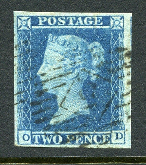 1841 2d Blue plate 4 lettered OD. A very fine used four margined example with light numeral cancel.