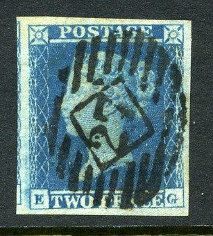 1841 2d Blue plate 4 lettered EG. A very fine large margined example with No 25 numeral cancel.