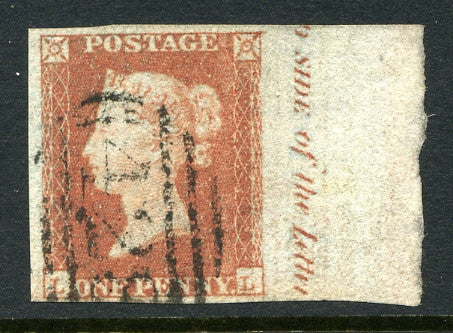 "1841 1d Red-brown plate 118 lettered LL. An outstanding four margined marginal inscription example ""SIDE of the letter"" with clean numeral cancel. Rare!"