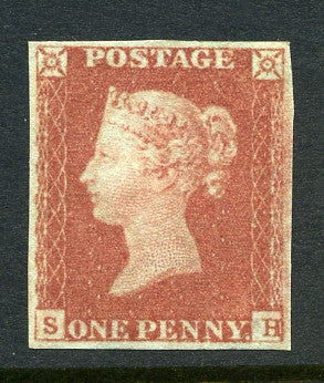 1841 1d Red-brown lettered SH. A very fine l/m/m original gum example with good margins all round.