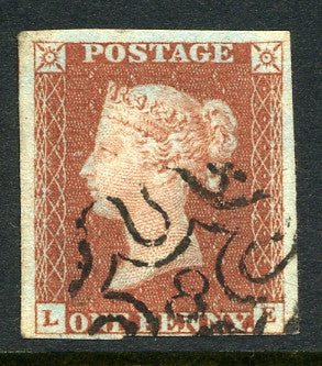1841 1d Red-brown lettered LE. A very fine used four margined example with No. 8 in MC.