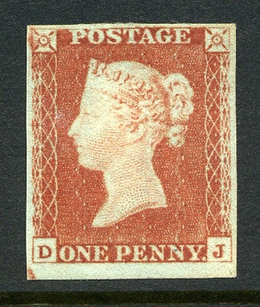 1841 1d Red-brown lettered DJ. A fine mint original gum four margined example, small gum thin does not detract from fresh appearance.