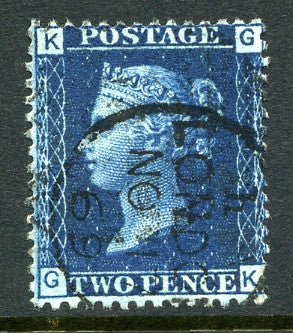 "1869 2d Deep blue plate 13 lettered GK. A superb used example with ""London"" CDS dated November, 1869."