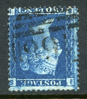 1858 2d Blue plate 9 crown watermark INVERTED lettered SI. A fine used example.