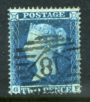 1855 2d Blue plate 5 small crown perf 16 lettered GF. A very fine used example with clean numeral cancel.