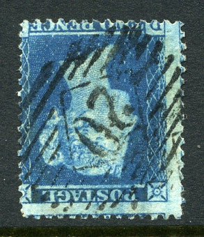 1855 2d Blue plate 5 large crown INVERTED perf 14 lettered D?. A fine used example of this scarce watermark variety!