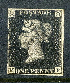 1840 1d Black plate 8 lettered MF. A very fine used four margined example with crisp black MC.