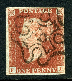 1841 1d Red-brown plate 34 lettered FI. A very fine used four margined example with No 6 in MC.