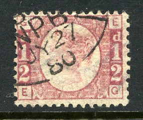 1870 ½d Rose-red plate 12 lettered EG. A superb used example with Newspaper Branch oval dated 27th July, 1880.