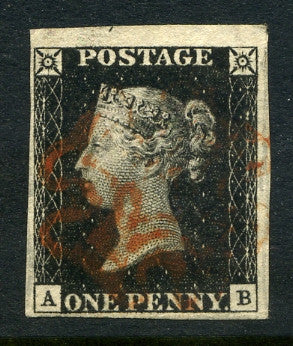 1840 1d Black plate 1b lettered AB. A superb used good to huge margined example with red MC.