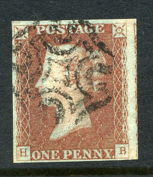 1840 1d Red-brown plate 23 lettered HB. A very fine used four margined example with black MC.