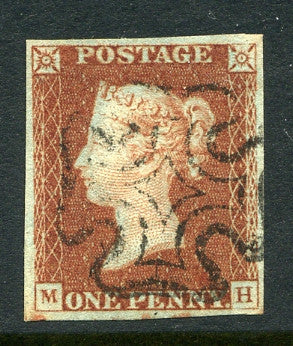 1840 1d Red-brown plate 25 lettered MH. A very fine used four margined example with black MC.