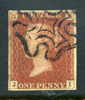 1840 1d Red-brown plate 29 lettered JI. A very fine used four margined example with black MC.