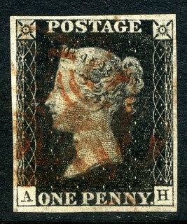 1840 1d Black plate 5 lettered AH. A very fine used four margined example with red MC.