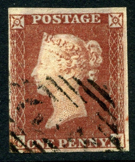"1841 1d Red-brown plate 129 lettered CC. A superb used four margined example on thicker ""lavender tinted paper"" and light numeral cancel."