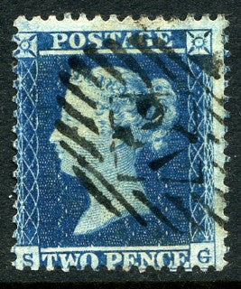 1855 2d Blue plate 4 small crown perf 14 lettered SG. A fine used example with London 27 numeral cancel.
