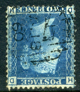 1858 2d Blue plate 8 WATERMARK INVERTED lettered DH. A very fine used example with light Duplex cancel.