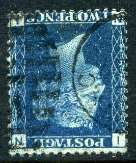 1869 2d Blue plate 13 WATERMARK INVERTED lettered NI. A fine used example with part CDS cancel.