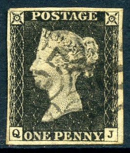1840 1d Black plate 3 lettered QJ. A very fine used four margined example with light strike of black MC.