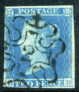 1841 2d Blue plate 3 lettered DD. A very fine used four margined example with excellent upright No 2 in MC. Scarce!