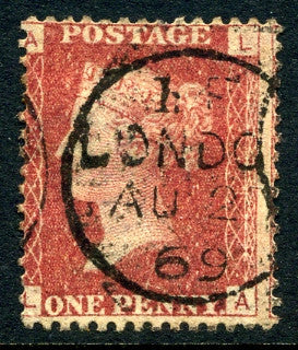 "1858-79 1d Rose-red plate 113 lettered LA. A fine used example with ""London"" CDS dated 27th August, 1869."