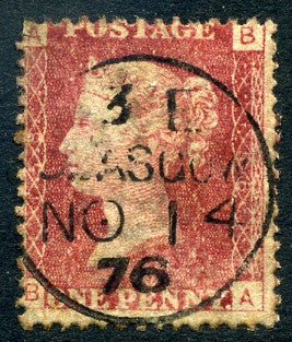 "1858-79 1d Rose-red plate 158 lettered BA. A fine used example with ""Glasgow"" CDS dated 14th November"
