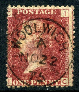 "1858-79 1d Rose-red plate 179 lettered IC. A very fine used example with ""Woolwich"" CDS dated 22nd November"