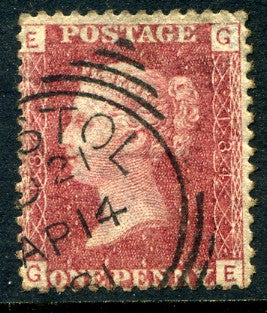 "1858-79 1d Rose-red plate 184 lettered GE. A very fine used example with ""Bristol"" squared circle dated 14th April"