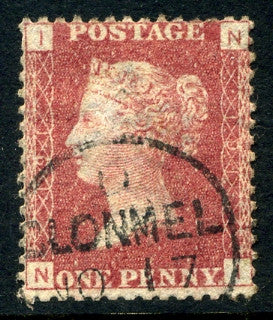 "1858-79 1d Rose-red plate 191 lettered NI. A very fine used example with ""Clonmel"" CDS."