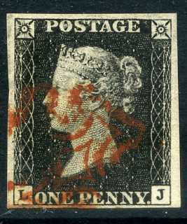 1840 1d Black plate 4 lettered LJ. A very fine used four margined example with lovely red MC.