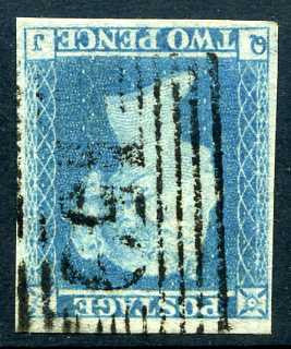 1841 2d Pale blue plate 4 WATERMARK INVERTED lettered QJ. A very fine used four margined example of this scarce variety with Scottish 159 numeral cancel. Beautiful colour!