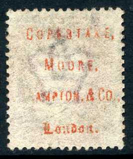 "1858-79 1d Rose-red plate 120 lettered IL. A fine used example with ""Copestake, Moore, Crampton & Co."" underprint in red."