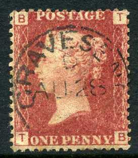 "1858-79 1d Rose-red plate 112 lettered TB. A very fine used example with ""Gravesend"" CDS."