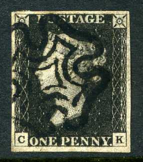 1840 1d Intense black plate 2 lettered CK. A superb used four margined example with outstanding black MC.