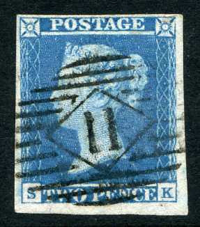 1841 2d Pale blue plate 3 lettered SK. A very fine used four margined example with crisp numeral cancel.