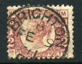 "1870 ½d Rose-red plate 8 lettered MW. A superb used example of this difficult plate with ""Brighton"" CDS."