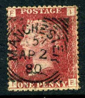 "1858-79 1d Rose-red plate 218 lettered IF. A fine used example with ""Manchester"" squared circle dated 2nd April"