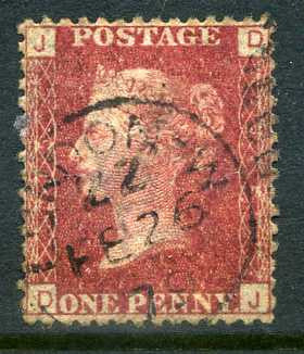 "1858-79 1d Rose-red plate 215 lettered DJ. A fine used example with ""London"" CDS dated 26th February"