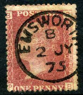 "1858-79 1d Rose-red plate 170 lettered PB. A very fine used example with ""Emsworth"" CDS dated 2nd July"